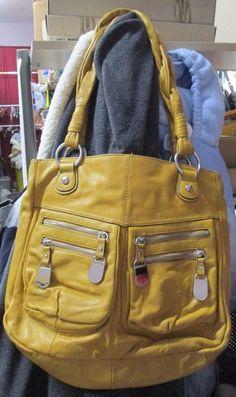 B. Makowsky Mustard Leather Braided Handle Large Tote with Zipper Pockets EUC #BMakowsky #HandbagPurse