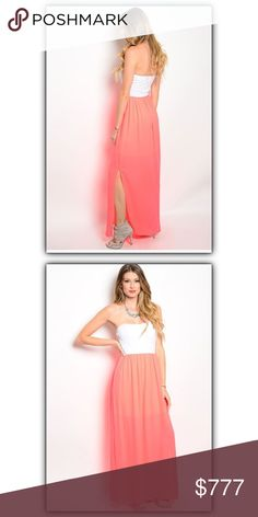 🎉New arrival!🎉 Beautiful maxi dress! Beautiful maxi dress! This strapless combination dress features a fitted bodice and contrast colored chiffon Maxi Skirt in bright neon coral pink! Sexy thigh slit makes this dress irresistible! 100% polyester. Made in the USA 🇺🇸 Dresses Maxi