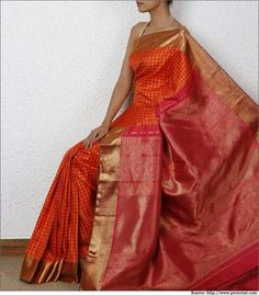 Orange and Red Kanjeevaram Saree