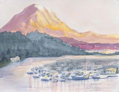 Simple Paintings for Beginners landscape  | Gig Harbor Watercolor Landscape Painting A watercolor painting ofMt ...