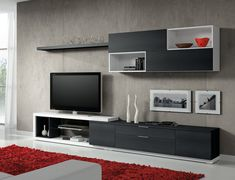 Blanco, negro y rojo - Best Pins Live Modern Tv Units, Interior, Tv Wall Design, Living Room Modern, House Interior, Interior Design, Wall Unit, Living Room Designs, Living Room Tv