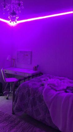 Neon Bedroom, Room Ideas Bedroom, Bedroom Decor, Girls Bedroom, Bedrooms, Dream Rooms, Dream Bedroom, Led Room Lighting, Led Bedroom Lights