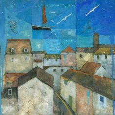 """Falmouth, Abstract Cornish Painting, Signed Fine Art Print 10""""x10"""". $35.00, via Etsy."""