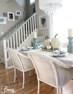 Beachy Blue and White Fall Home Tour: http://www.completely-coastal.com/2015/09/coastal-fall-home-tours.html