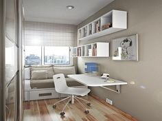 Bed with storage - great example: drawers, pillows, storage. (Small Desks for Bedrooms Ideas)