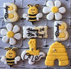 Happy 1st Bee Day! 💛🐝 • • • #beecookies #beeparty #beebirthdayparty #firstbeeday #beetheme #busybeecakery #cutoutcookies #customcookies… Girl Birthday Themes, Baby Girl Birthday, Birthday Fun, First Birthday Parties, First Birthdays, Birthday Ideas, Birthday Photos, Bee Cookies, Bee Party