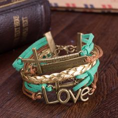 comeon® Jewelry Bracelet, Cowhide, cross & anchor & motto & love, with Waxed Cotton Cord & Zinc Alloy, with 2 lnch extender chain, word where there's a will there's a way, antique gold color plated, for woman & 5-strand, nickel, lead & cadmium free,china wholesale jewelry beads