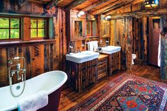 Architecture: pearson design group construction: yellowstone traditions see the whole house here: a rustic four-cabin family enclave Rustic Bench, Rustic Doors, Rustic Shelves, Rustic Walls, Rustic Wall Decor, Rustic Cabinets, Rustic Nursery, Rustic Theme, Rustic Barn