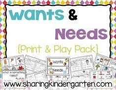 This pack contains printables and playable activities to cover the topic of wants and needs.  Charts- 6 charts to teach wants and needs. Two charts are filled out, 2 are set up but not filled in, and there is a WANTS and NEEDS header set along with a student printable.