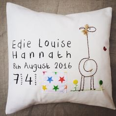 This cushion is a lovely, unique gift for a special person on their christening day. A perfect present to keep and cherish.The giraffe design is perfect for both a girl and boy. The flower button can be stitched on to suit both. The cushion can also come