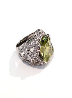 Vintage Peridot and Pave Estate Jewelry Ring, via Etsy.