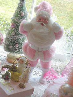 Pink Santa reminds me Christmas at my Grandma's.