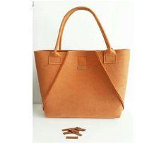 Handmade Apricot, Felt Tote Bags, Geometric Bag, Shopper Bag, Felt Shopper, Felt Shoulder Bag, Carry All Bag, Hand Bag, Gift For Women