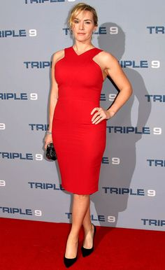 Kate Winslet in a red body-con dress