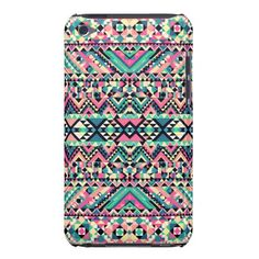 Pink Turquoise Girly Aztec Andes Tribal Pattern iPod Touch Case-Mate Case