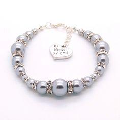 Silver Grey 'Graduated Glass Pearl & Rhinestone' bracelet
