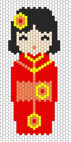 Kokeshi Red bead pattern