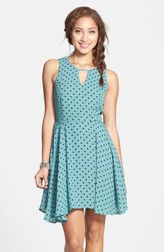 dee elle Print Keyhole Chiffon Skater Dress (Juniors) available at #Nordstrom