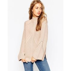 ASOS Chunky Jumper With High Neck And Moving Rib (£21) ❤ liked on Polyvore featuring tops, sweaters, pink, high neck top, pink jumper, asos tops, rib sweater and high neck sweater