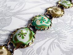 brocade  vintage tin and brass bracelet by littleblackrabbit, $50.00