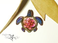 Rose Honeycomb Turtle - Glass Art Jewelry by Creative Flow Glass.