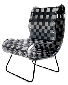 Reclaimed Seatbelt chair using reclaimed auto parts. Winner Adam Barron, a senior in Industrial Design at the University of Cincinnati, created the prototype for this chair; from a steel rod frame and seatbelts he collected from a local junkyard. $1500