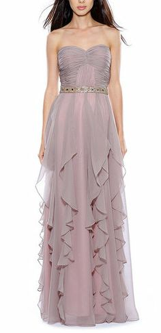 Taupe Ruched Ruffle Strapless Gown