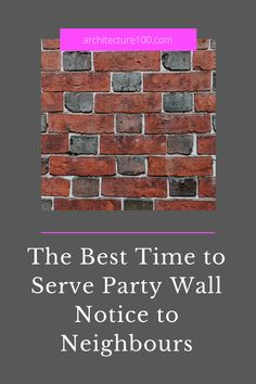 Having established that you will need to serve party wall notice to neighbours sometime in advance of starting the build, the next thing to figure out is what the optimal moment to do so is.  Here's an article about the best time to serve party wall notice to neighbours. Enjoy!