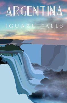 Iguaza Falls, Argentina #vintageposters #Vintagetravelposters