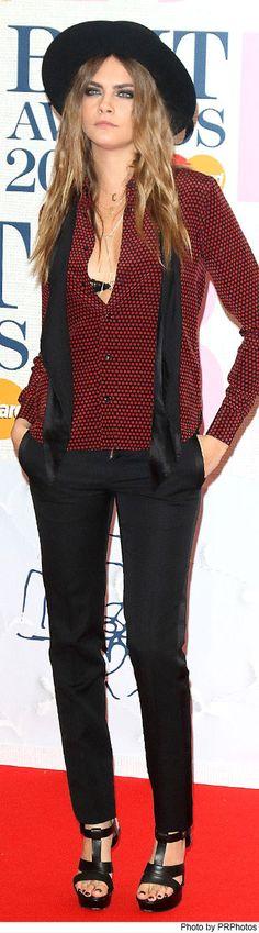 Cara Delevingne Wearing Saint Laurent Suit and Jennifer Fisher Necklace - 02/25/2015