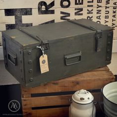 Antique wooden ammunition box, in dark green. A great piece of military/army antique providing industrial style storing to the modern home. By Atelier Autêntico.