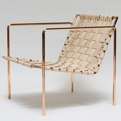 """Rod+Weave Chair is made to order. Solid steel hex rod frame, copper plated. Natural vegetable oil tanned leather, woven seat and back. Leather will get darker over time. Dimensions: 27""""L x 25""""W x 27""""H. Armrest height - 24"""" Seatfront height - 14"""" Local pickup in LA/OC area available. Custom finishes available - please email me directly - etrine@gmail.com Ships in 4-6 weeks. A separate invoice will be sent out at time of shipping. Shipping to East Coast is approx $150-175."""