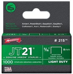 """Arrow Fastener 215 JT21 5/16"""" Flat Crown Light Duty Staples 1000 per Package by Arrow. $7.99. Arrow's 5/16-inch JT21 Staples have a 5/6-inch (8mm) leg length and fit the JT21 and JT21CM staple gun tackers. They come 1,000 staples to a pack."""