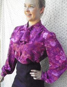 Vintage 70's floral secretary blouse