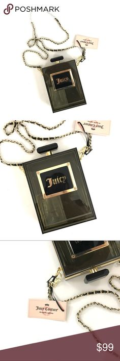 Juicy couture perfume bottle purse Clutch/crossbody shaped like a perfume bottle. Not actual perfume 🙄. Just a purse. Juicy couture. New. Long chain. Measurements upon request. Juicy Couture Bags Crossbody Bags