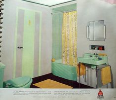 This book is from 1941 and shows exteriors and interiors of homes with attractive color schemes. Description from bathroompaintcolourspjl.wordpress.com. I searched for this on bing.com/images