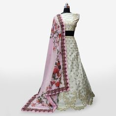 Buy Attractive Off-White Colored Partywear Embroidered Banarasi Silk Lehenga Choli at Rs. Get latest Lehengas for womens at Peachmode. Lehenga Collection, Silk Lehenga, Off White Color, India, Blouse, Stuff To Buy, Dresses, Women, Fashion