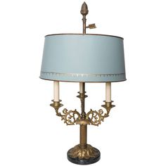 Ormolu and Black Marble Bouillotte Lamp with Blue Tole Shade | From a unique collection of antique and modern table lamps at https://www.1stdibs.com/furniture/lighting/table-lamps/