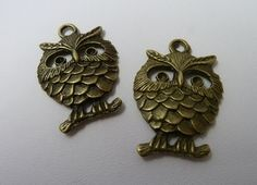 2 Bronze Happy Owls Charms by ArtBoxSupplies on Etsy, $2.00