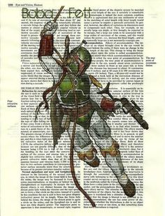 Boba Fett Vintage Dictionary Altered Page Art