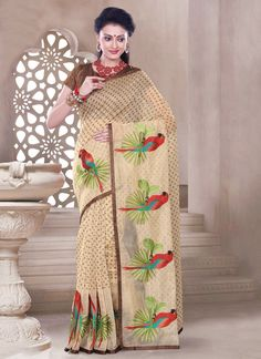 Capricious Chanderi Cotton Multi Colour Print Work Casual Saree