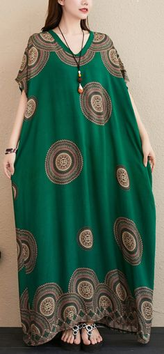Chic green print outfit v neck Batwing Sleeve Kaftan summer Dresses Abaya Fashion, Fashion Dresses, Velvet Dress Designs, African Print Dress Designs, Green Print, Chic Dress, Batwing Sleeve, African Dress, Spring Outfits