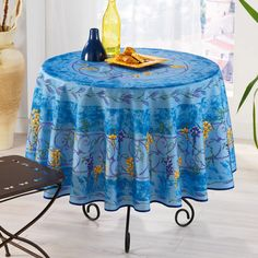 French-made tablecloth.  Product: TableclothConstruction Material: PolyesterColor: BlueFe...