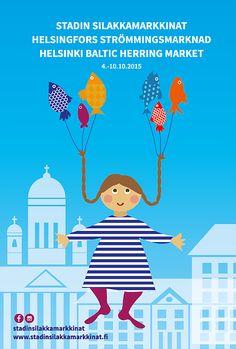 A poster to Helsinki Baltic Herring Market. Helsinki, Family Guy, Marketing, Illustration, Poster, Fictional Characters, Design, Art, Art Background