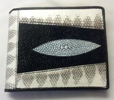 Genuine Python&Stingray Wallets Skin Leather Bifold Handmade Men's Purses Bags #Handmade #Bifold