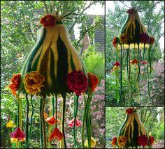 Hängelampen - Filzlampe,Lampe gefilzt, Märchenlampe,Blumen - ein Designerstück von felted-art-to-wear bei DaWanda