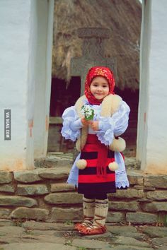 Romanian child in traditional clothing