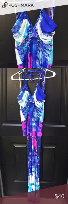 Cynthia Rowley blue and purple maxi dress Cynthia Rowley size large blue, purple and white maxi dress. New with tag, never worn. Has adjustable halter straps. Very soft. Cynthia Rowley Dresses Maxi