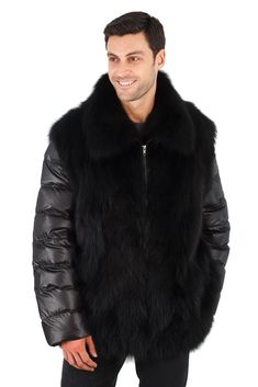 Urban streetwear with manly sophistication combine to create this fantastic fox jacket with quilted sleeve and side panels. Make a statement with black fox – Mens Winter Fashion Jackets, Winter Outfits Men, Winter Jackets, Outfit Winter, Winter Clothes, Fur Jacket Mens, Mens Fur, Fur Jackets, Jacket Style