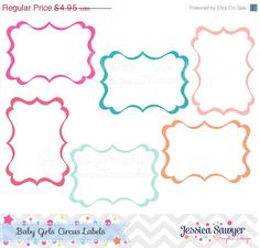 80% OFF - INSTANT DOWNLOAD, baby girl circus labels, digital frames, for commercial use, personal use         July 27, 2015 at 12:27AM
